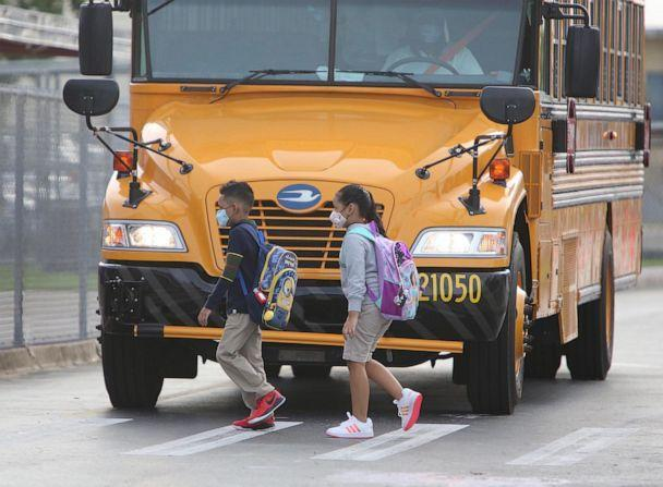 PHOTO: In this Oct. 5, 2020, file photo, students return to school at Carrie  P. Meek/Westview  K-8 Elementary School in Miami. (Emily Michot/TNS via Newscom, FILE)
