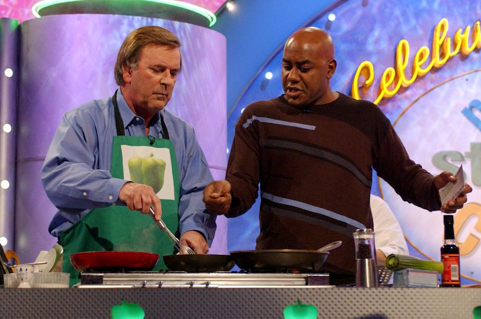 Terry Wogan with Ainsley Harriott on a celebrity special of Ready Steady Cook (Andy Butterton - PA Images/PA Images via Getty Images)