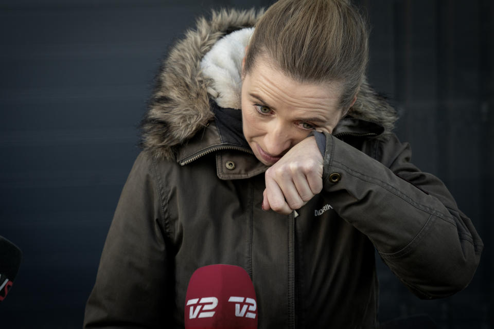Denmark's Prime Minister Mette Frederiksen reacts as she meets journalists after visiting a closed and empty mink farm near Kolding, Denmark, on November 26, 2020. - Prime Minister Frederiksen's government has acknowledged that its decision to cull more than 15 million minks had no legal basis for those not contaminated by the Covid-19 variant, infuriating breeders. A mutated version of the new coronavirus detected in Danish minks that raised concerns about the effectiveness of a future vaccine has likely been eradicated, Denmark's health ministry said on November 19, 2020. (Photo by Mads Nissen / Ritzau Scanpix / AFP) / Denmark OUT (Photo by MADS NISSEN/Ritzau Scanpix/AFP via Getty Images)