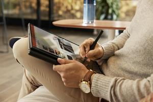The HP Elite Folio transitions seamlessly between laptop, tablet, and media mode with a design that features soft vegan leather. [28]