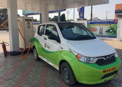 Mahindra's, e2oPlus, operated by Indian ride-hailing company Ola, is seen at an electric vehicle charging station in Nagpur, India January 24, 2018. Picture taken January 24, 2018. REUTERS/Aditi Shah
