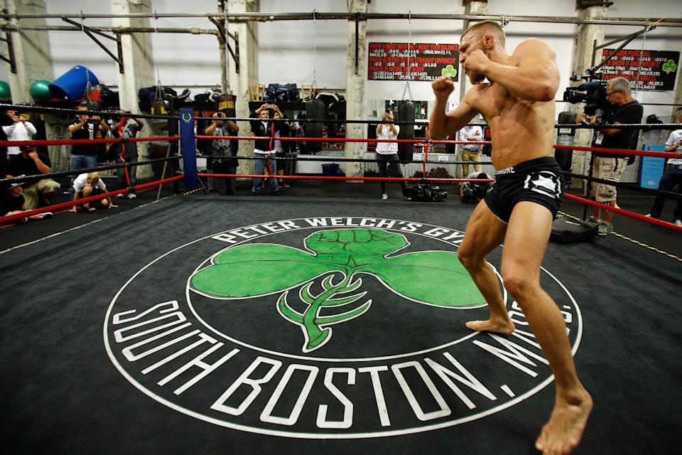 Irish featherweight Conor McGregor holds an open training session for media at Peter Welch's Boxing Gym on Aug. 13, 2013, in Boston. (Getty Images)