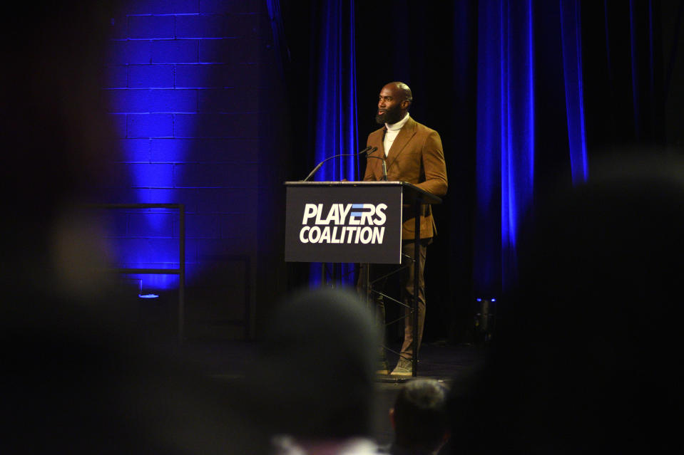 Eagles Safety and Players Coalition Co-Founder Malcolm Jenkins speaks during the Players Coalition Town Hall on Policing in the city, at Community College of Philadelphia, PA, on October 28 2019. (Photo by Bastiaan Slabbers/NurPhoto via Getty Images)