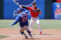 Cleveland Indians' Andres Gimenez forces out Chicago Cubs' Joc Pederson (24) at second base and throws out Eric Sogard at first base to complete the double play during the fourth inning of a baseball game, Wednesday, May 12, 2021, in Cleveland. (AP Photo/Ron Schwane)