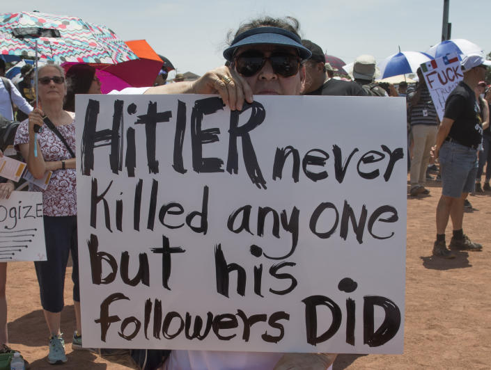 El Paso residents protest against the visit of President Donald Trump to the city after the Walmart shooting that left a total of 22 people dead, in El Paso, Texas, on Aug. 7, 2019. (Photo: Mark Ralston/AFP/Getty Images)