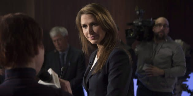 Caroline Mulroney scrums with journalists in the TVO studios in Toronto on Feb. 15, 2018, following a televised debate with fellow candidates Christine Elliott, Tanya Granic Allen and Doug Ford.