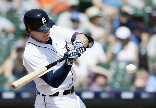 Detroit Tigers' Brandon Dixon hits a solo home run against the Washington Nationals during the seventh inning of a baseball game Sunday, June 30, 2019, in Detroit. (AP Photo/Duane Burleson)