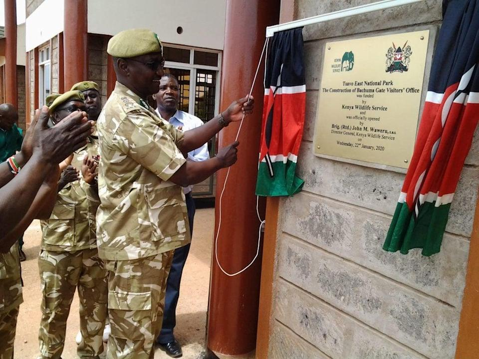 Kenya Wildlife Service Director General Brigadier John Waweru officially opens Bachuma Gate Visitor's office in Tsavo East National ParkKWS