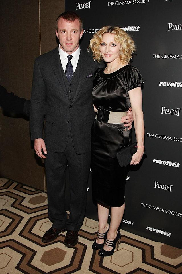 "Guy Ritchie met the Material Girl in 1998 at a dinner party thrown by Sting and his wife, Trudie Styler. Two years later, the director of ""Lock, Stock and Two Smoking Barrels"" was standing at the altar with one of the world's biggest pop stars. The pair made a horrible movie (""Swept Away"") and a child, Rocco, plus adopted another, David. But then ... Jason Kempin/<a href=""http://www.wireimage.com"" target=""new"">WireImage.com</a> - December 2, 2007"