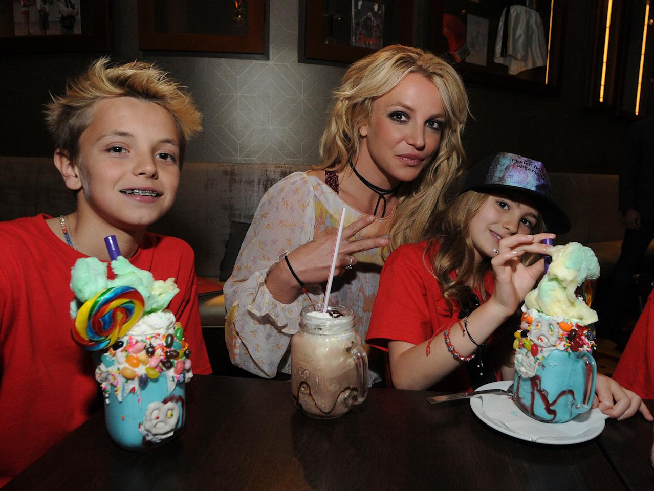 It's nothing but sweet stuff for Britney Spears on Monday as she enjoys some out-of-this-world treats with her son Jayden and niece Maddie at Orlando's Planet Hollywood.