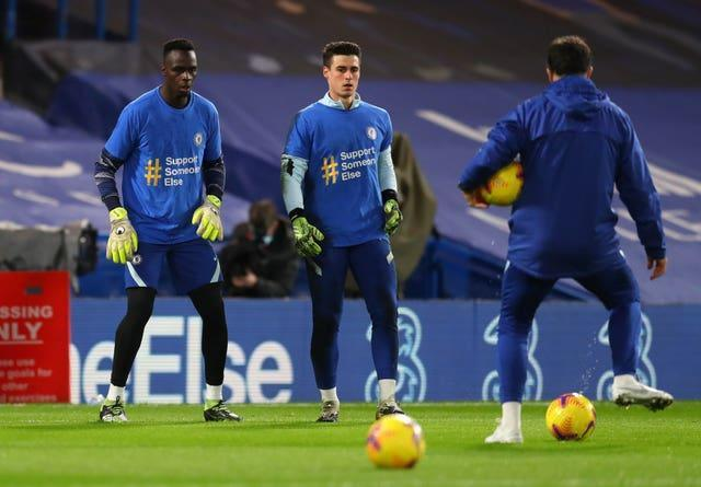 Edouard Mendy, left, has been ahead of Kepa Arrizabalaga, centre, in the pecking order