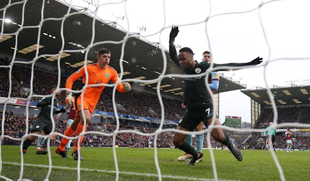 "Soccer Football - Premier League - Burnley vs Manchester City - Turf Moor, Burnley, Britain - February 3, 2018 Manchester City's Raheem Sterling reacts after missing a chance to score Action Images via Reuters/Jason Cairnduff EDITORIAL USE ONLY. No use with unauthorized audio, video, data, fixture lists, club/league logos or ""live"" services. Online in-match use limited to 75 images, no video emulation. No use in betting, games or single club/league/player publications. Please contact your account representative for further details."