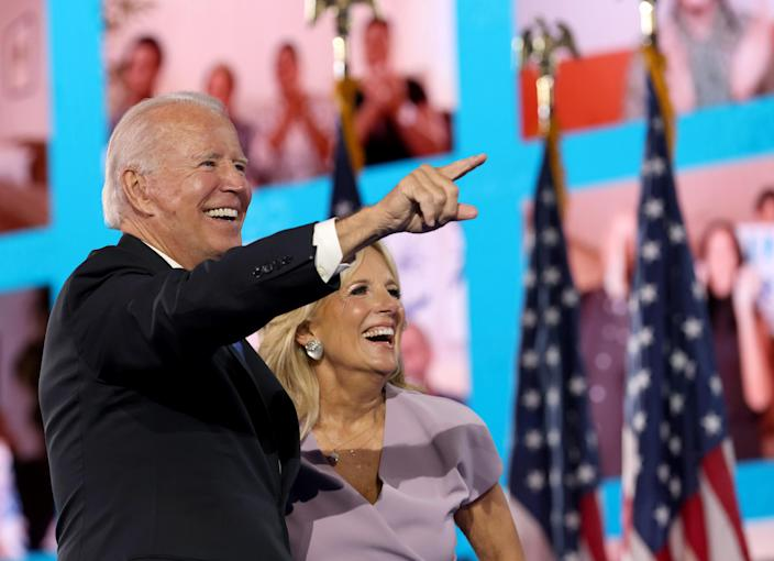 Joe Biden with his wife, Jill, at the Democratic National Convention in Wilmington, Del., last week. (Win McNamee/Getty Images)