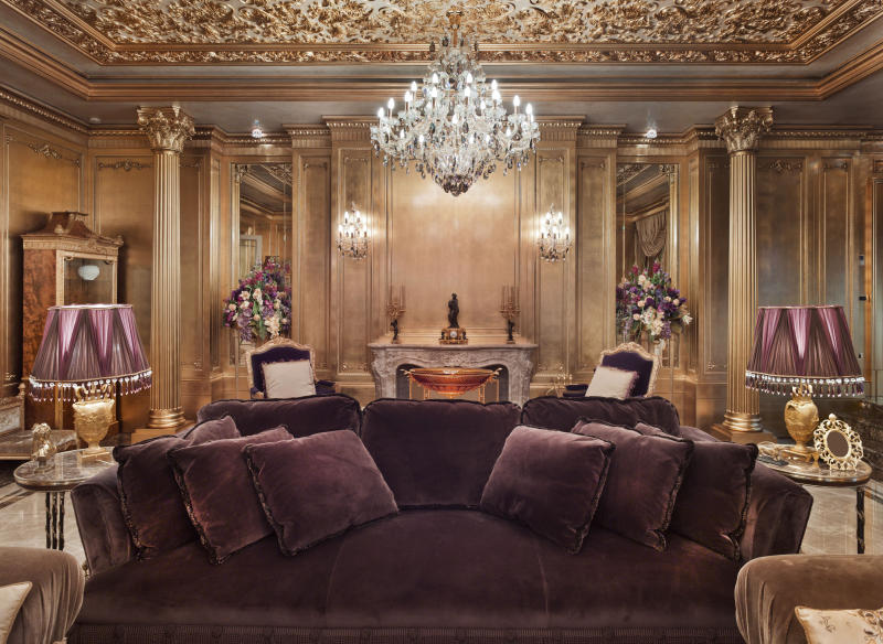 Golden luxurious mansion in the moscow area; luxury golden interior; rich lifestyle
