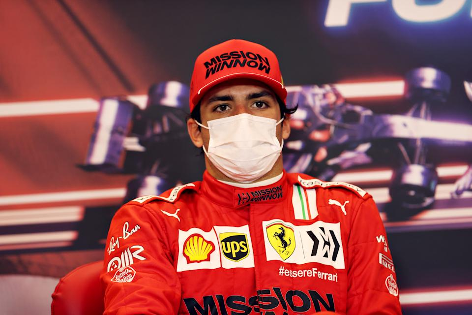 MONTE-CARLO, MONACO - MAY 23: Second placed Carlos Sainz of Spain and Ferrari talks in a press conference after the F1 Grand Prix of Monaco at Circuit de Monaco on May 23, 2021 in Monte-Carlo, Monaco. (Photo by Clive Rose/Getty Images)