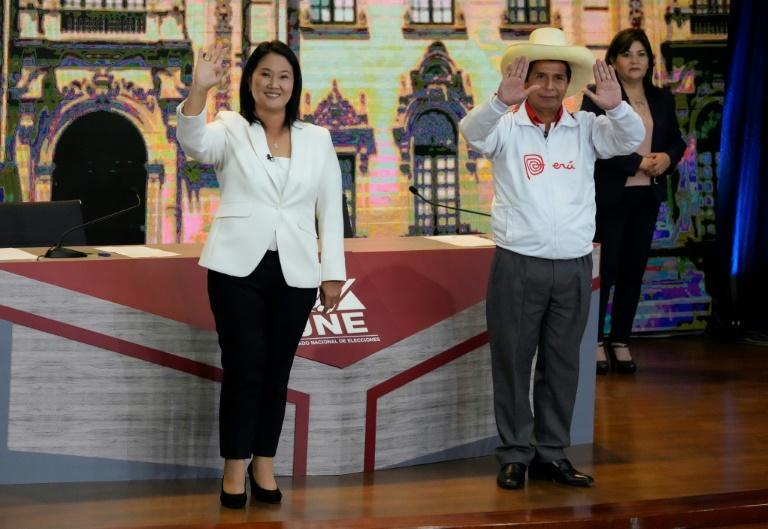 Peru's presidential candidates Keiko Fujimori (left) and Pedro Castillo took part in a debate on May 30, 2021