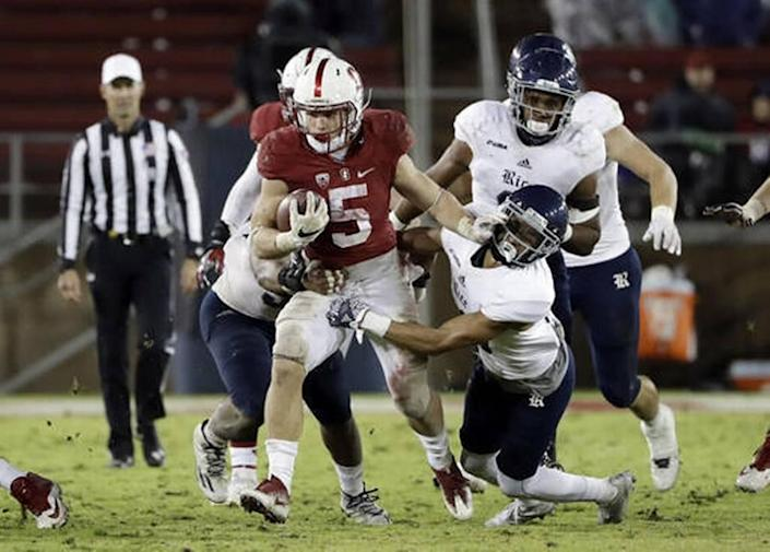 Stanford running back Christian McCaffrey (5) was the pick at No. 8 overall for the Carolina Panthers on Thursday night in the NFL draft.