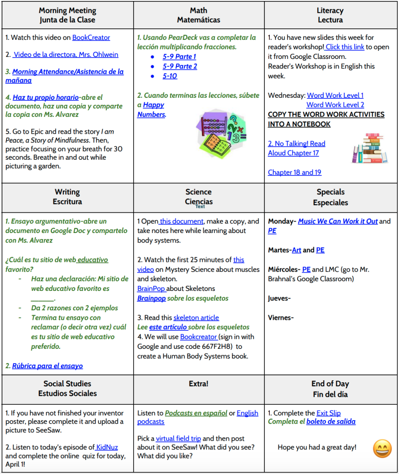 Learning menus are a popular method that teachers are sharing with students and their parents, offering a diversity of choices. Here is an example of one teacher's weekly 'menu.'