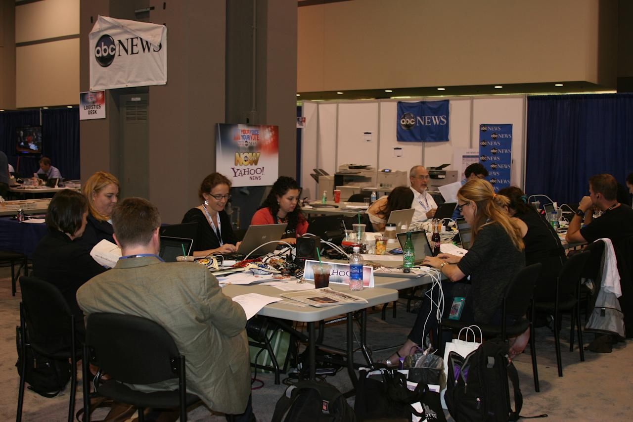 Yahoos hard at work at our ABC News/Yahoo! News workspace at the media filing center a short distance from the Democratic National Convention forum, Tuesday Sept. 4, 2012. (Torrey AndersonSchoepe/Yahoo! News)