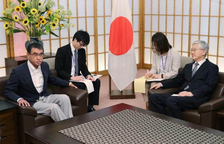 Japan's foreign minister summoned the South Korean ambassador in Tokyo over the dispute (AFP Photo/JIJI PRESS)