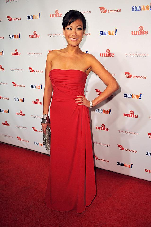 "Last but not least ... the lovely Lindsay Price (""Eastwick""), who attended Sir Richard Branson's ""Rock the Kasbah"" fete in a fire engine red Valentino frock. Fab-u-lous! Alberto E. Rodriguez/<a href=""http://www.gettyimages.com/"" target=""new"">GettyImages.com</a> - October 26, 2009"