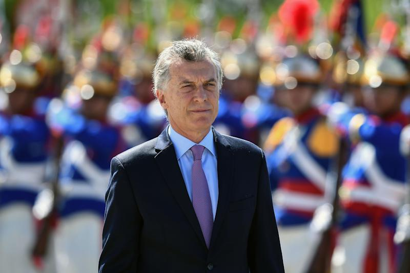 Argentina's President Mauricio Macri reviews the honor guard during his welcome ceremony at Planalto Palace in Brasilia, on January 16, 2019. - Macri is on a one-day official visit to Brazil to address the future of Mercosur and the crisis in Venezuela. (Photo by EVARISTO SA / AFP) (Photo credit should read EVARISTO SA/AFP/Getty Images)