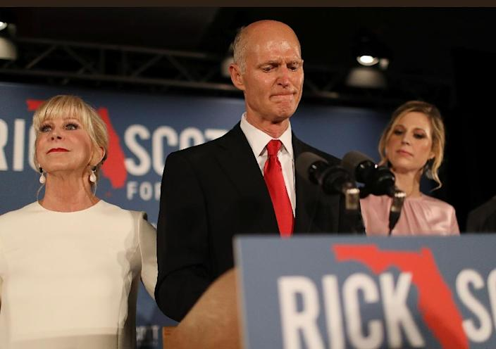 """Republican Rick Scott (pictured), the state's governor until January 2019 when his term expires, accused his rival Bill Nelson of orchestrating """"fraud to try to win this election"""" (AFP Photo/JOE RAEDLE)"""