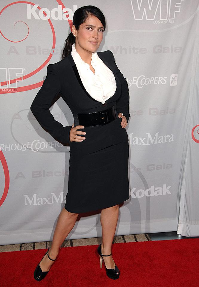 "Salma Hayek managed to flaunt her famous curves, even in a three-piece suit. The actress/producer was honored with the 2008 Lucy Award for her work on ""Ugly Betty."" Steve Granitz/<a href=""http://www.wireimage.com"" target=""new"">WireImage.com</a> - June 17, 2008"