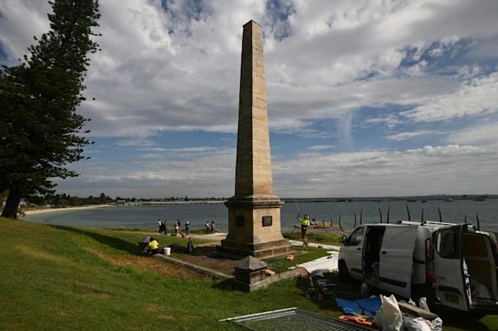 The Captain Cook memorial on the shore of Botany Bay marks where the English explorer landed in Australia on April 29, 1770 (AFP Photo/PETER PARKS)