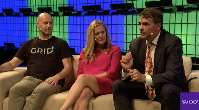 Left to right: Ethereum Founder Joseph Lubin, Canvas Ventures Cofounder Rebecca Lynn and DJF Founder Tim Draper at Web Summit 2017