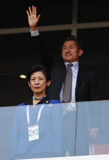 Japan's Princess Takamado arrives to watch the group H match between Colombia and Japan at the 2018 soccer World Cup in the Mordavia Arena in Saransk, Russia, Tuesday, June 19, 2018. (AP Photo/Natacha Pisarenko)