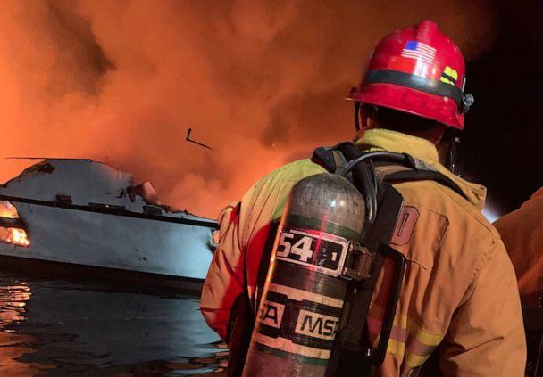 PHOTO: The Ventura County Fire Department at the scene of a boat fire off the coast off Santa Cruz, Calif., Sept. 2, 2019.  (Ventura County Fire Department)