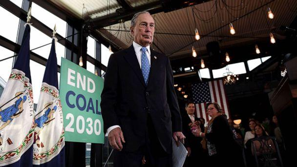 PHOTO: Former New York Mayor and Democratic presidential candidate Michael Bloomberg arrives to speak about his plan for clean energy during a campaign event at the Blackwall Hitch restaurant in Alexandria, Va., Dec. 13, 2019. (Olivier Douliery/AFP/Getty Images)