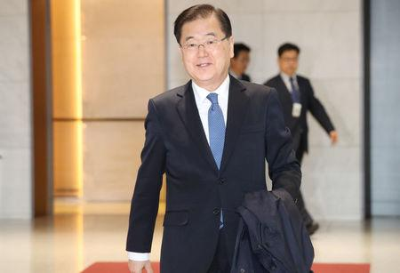South Korea's National Security Office chief Chung Eui-yong arrives at Incheon International Airport in Incheon