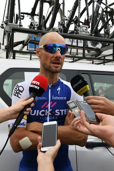 Tom Boonen answers journalists at Tour of Oman between Nakhal and Al-Bustan on February 15, 2017
