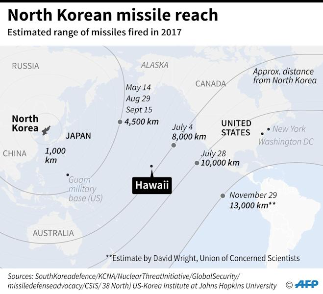 Location of Hawaii and the estimated range of missiles tested by North Korea in 2017 (AFP Photo/John SAEKI)