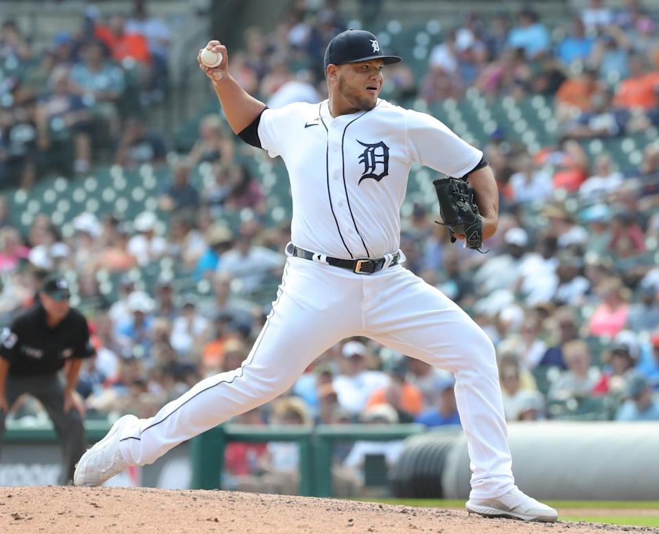 Detroit Tigers reliever Joe Jimenez (77) pitches against the Los Angeles Angels during sixth inning action at Comerica Park Thursday, August 19, 2021.