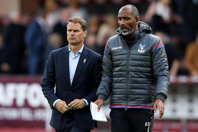 "Frank De Boer (left) is on the hot seat at <a class=""link rapid-noclick-resp"" href=""/soccer/teams/crystal-palace/"" data-ylk=""slk:Crystal Palace"">Crystal Palace</a> after just four games. (Reuters)"