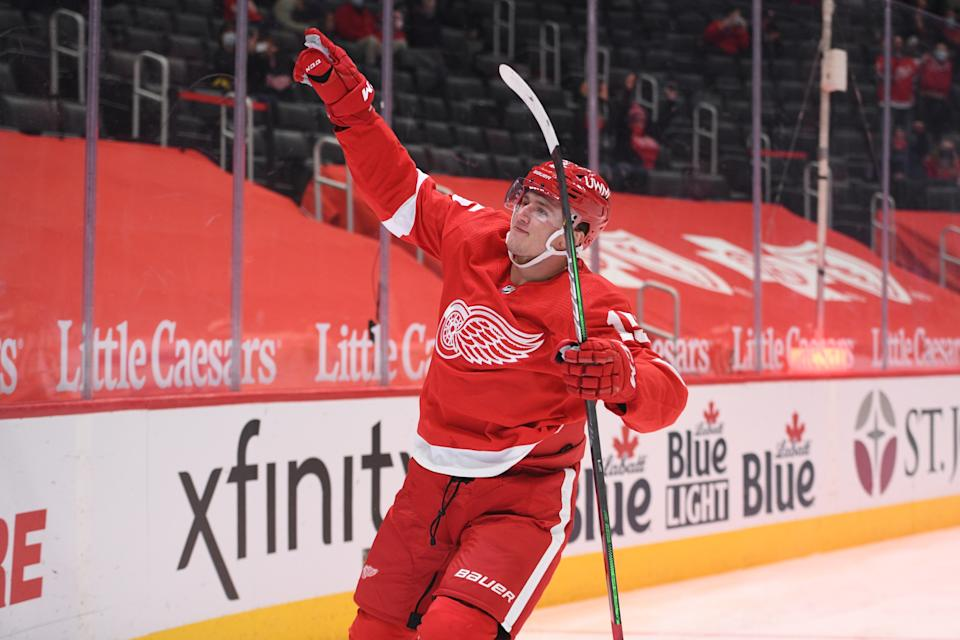Apr 15, 2021; Detroit, Michigan, USA; Detroit Red Wings left wing Jakub Vrana (15) celebrates his goal during the second period against the Chicago Blackhawks at Little Caesars Arena. Mandatory Credit: Tim Fuller-USA TODAY Sports