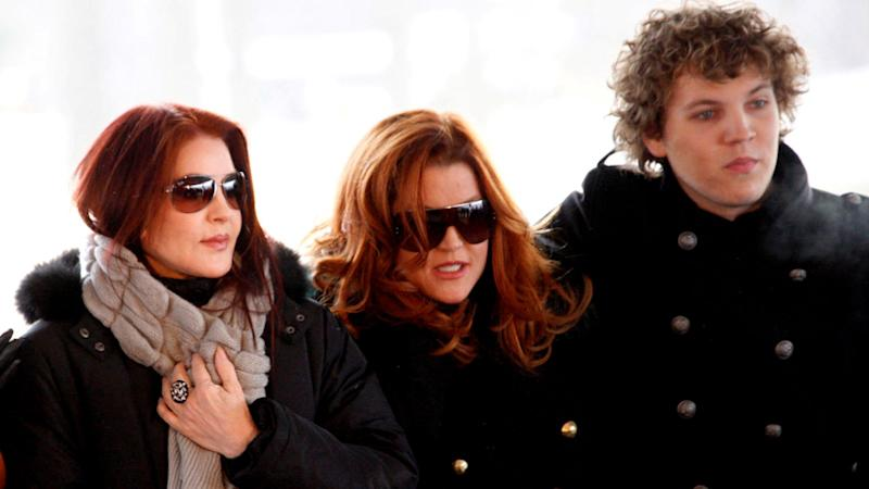 Left-right: Priscilla Presley, Lisa Marie Presley and Benjamin Keough pictured in 2010
