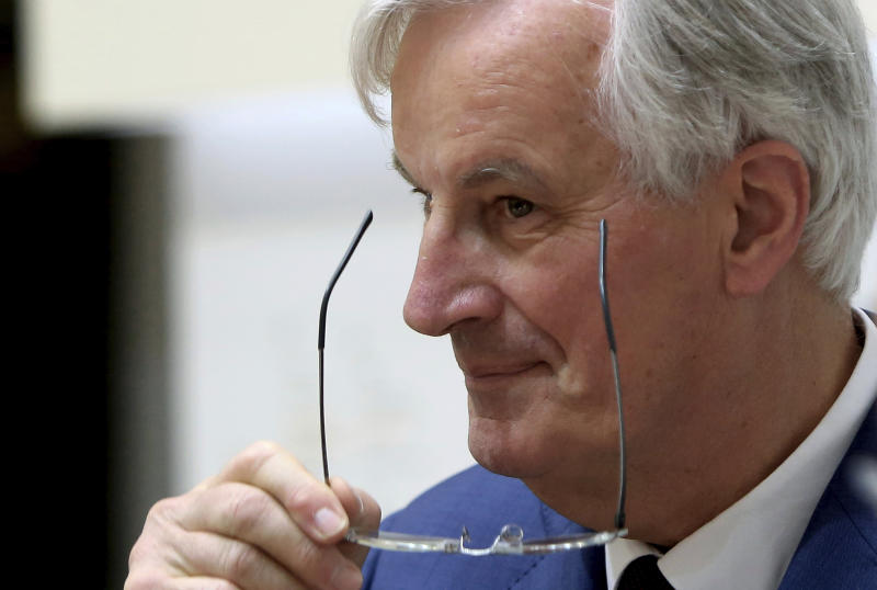 "FILE - In this Monday, May 20, 2019 file photo, the European Union's chief Brexit negotiator Michel Barnier adjusts his glasses after talking to the media with Cyprus' foreign minister Nicos Christodoulides at the foreign ministry in Nicosia, Cyprus. Britain is due to leave the EU on Oct. 31, but Parliament has rejected the government's divorce deal with the bloc. The bloc insists it won't change the 585-page withdrawal agreement, which sets out the terms of Britain's departure and includes a transition period of almost two years to allow both sides to adjust to their new relationship. ""This document is the only way to leave the EU in an orderly manner,"" EU Brexit negotiator Michel Barnier told the BBC in an interview broadcast Thursday, July 18, 2019. (AP Photo/Petros Karadjias)"