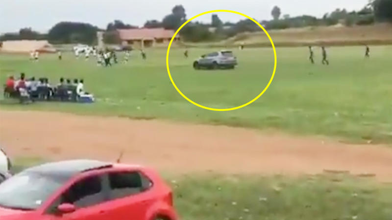 A BMW driving on the pitch during a match in the ABC Motsepe League match between Luka Ball Controllers and Polokwane City Rovers.