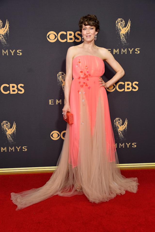 <p>Carrie Coon attends the 69th Primetime Emmy Awards on Sept. 17, 2017.<br> (Photo: Getty Images) </p>