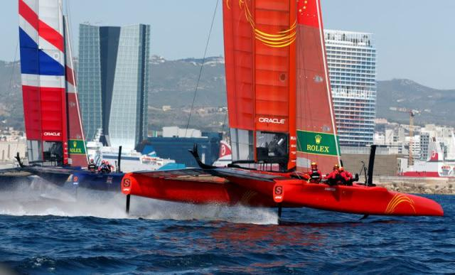 FILE PHOTO: China SailGP Team and Great Britain SailGP Team sail during the day one of the SailGP event in Marseille