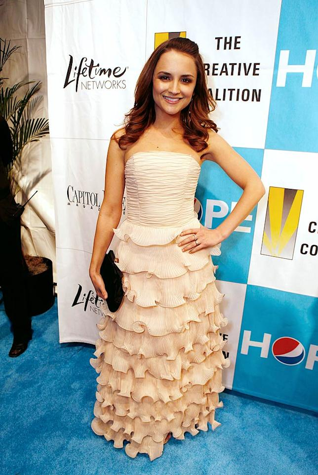 """Rachel Leigh Cook looked lovely at the Creative Coalition's Inaugural Ball in a nude multi-tiered gown complete with a ruched bodice. Jeff Vespa/<a href=""""http://www.wireimage.com"""" target=""""new"""">WireImage.com</a> - January 20, 2009"""
