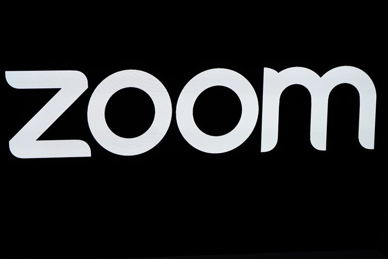 The Zoom Video Communications logo is pictured at the NASDAQ MarketSite in New York