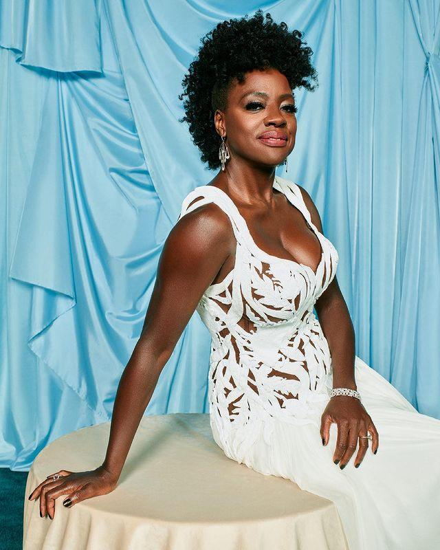 """<p>Looking stunning in her <a href=""""https://people.com/style/oscars-2021-viola-davis-wears-alexander-mcqueen-gown/"""" rel=""""nofollow noopener"""" target=""""_blank"""" data-ylk=""""slk:ethereal Alexander McQueen gown"""" class=""""link rapid-noclick-resp"""">ethereal Alexander McQueen gown</a>, Davis was nominated for Best Actress in a Leading Role for her work in <em>Ma Rainey's Black Bottom</em>, making her the most nominated Black actress ever at the Academy Awards.</p>"""