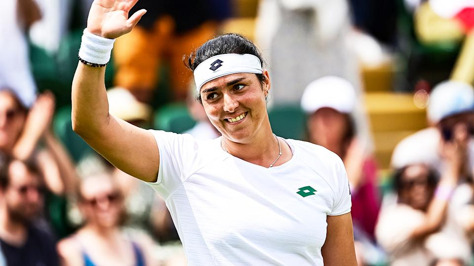 Ons Jabeur (pictured) thanking the crowd after her win at Wimbledon.