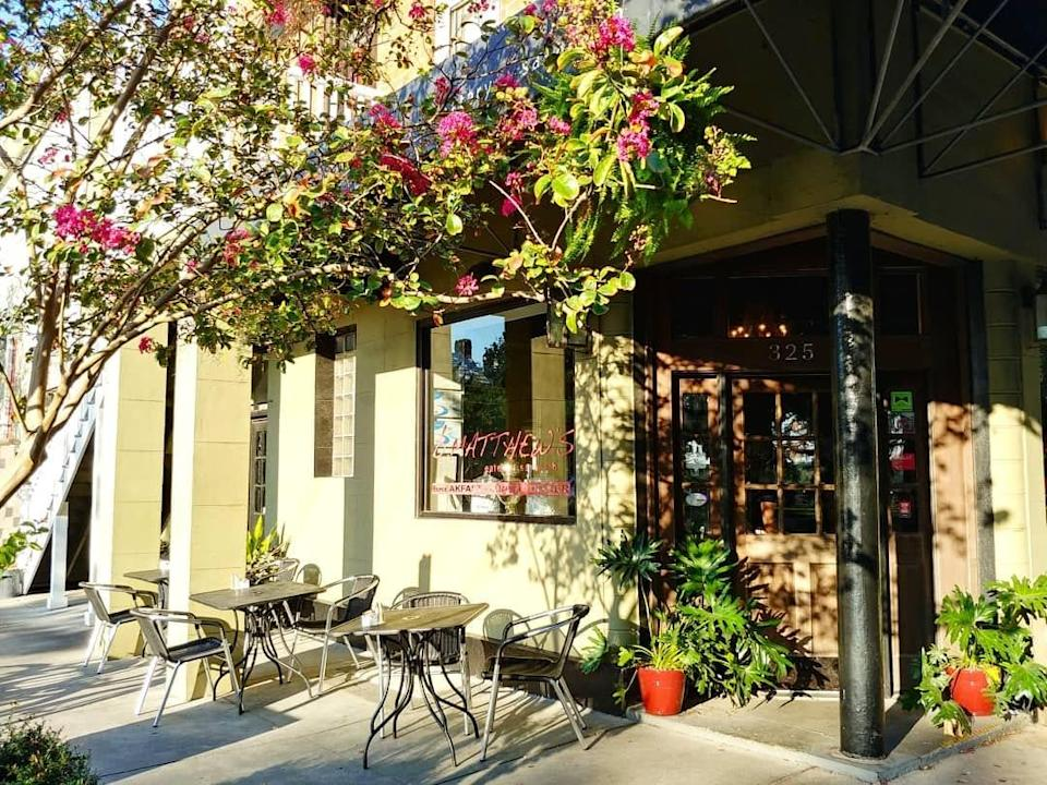 """<p><strong>What were your first impressions when you arrived?</strong> B. Matthews Eatery has all the hallmarks of a modern bistro, with exposed brick walls, dark wood, and striking modern art.</p> <p><strong>What's the crowd like?</strong> The restaurant, a block from the river, draws a healthy amount of tourist foot traffic as well as a loyal band of local fans. The space isn't overly formal, but it draws a relatively mature, buttoned-up crowd that's more likely to be chatting than taking photos for Instagram.</p> <p><strong>What should we be drinking?</strong> The weekend features a popular """"Build Your Own Bloody Mary"""" option, plus house combos (like the Bacon Mary), Bellinis, and Mimosas. There's also a Breakfast Margarita with orange juice and grapefruit marmalade.</p> <p><strong>Main event: the food. Give us the lowdown—especially what not to miss.</strong> The shrimp and grits are the real draw here; they're served with green onions, tasso ham, and red-eye gravy. The fried green tomato Benedict is another welcome deviation from the classics, with the mixed greens and goat cheese on a homemade biscuit delivering a tangy bite. There are regular egg dishes, of course, but among the other standouts are the indulgent salmon avocado toast and the chicken salad sandwich with apples and pecans.</p> <p><strong>And how did the front-of-house folks treat you?</strong> The staff are younger and more bohemian than the clientele, and show grace under pressure as they meet the brunch rush head on. There are some amusingly tipsy tables as service progresses, but even they are met with good humor and kindness.</p> <p><strong>What's the real-real on why we're coming here?</strong> The menu ventures beyond regular brunch offerings, and the classy, bistro-like dining room is a definite draw. You're not necessarily paying too much extra for this elevated experience, either, and who wouldn't relish the idea of building their own Bloody Mary?</p>"""