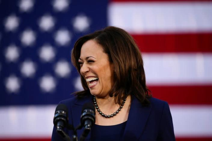 FILE PHOTO: U.S. Senator Harris launches her campaign for President of the United States at a rally at Frank H. Ogawa Plaza in her hometown of Oakland